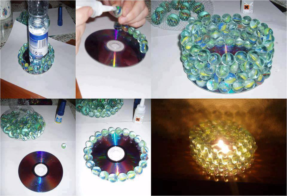 How to awesome light pattern with marbles and old DVD step by step DIY tutorial instructions