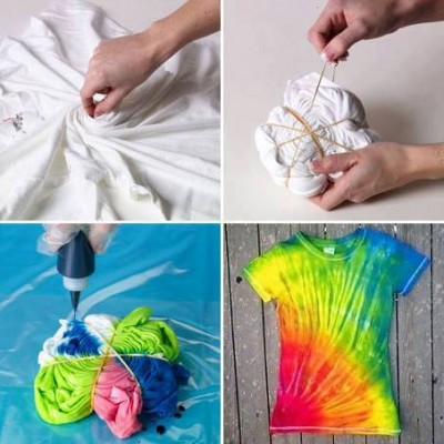 How to dye unique colorful t shirt step by step DIY tutorial instructions