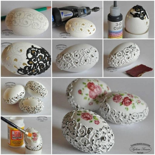 How to embroider lovely egg shells step by step DIY tutorial picture instructions
