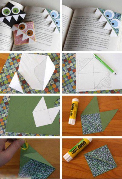 How to fold monster bookmark step by step DIY tutorial instructions