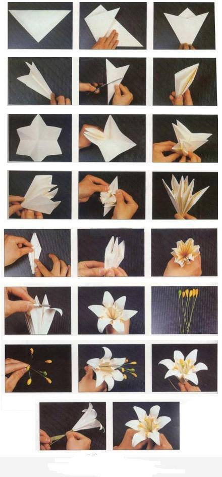 How To Fold Origami Paper Craft Blooming Lily Flowers Step