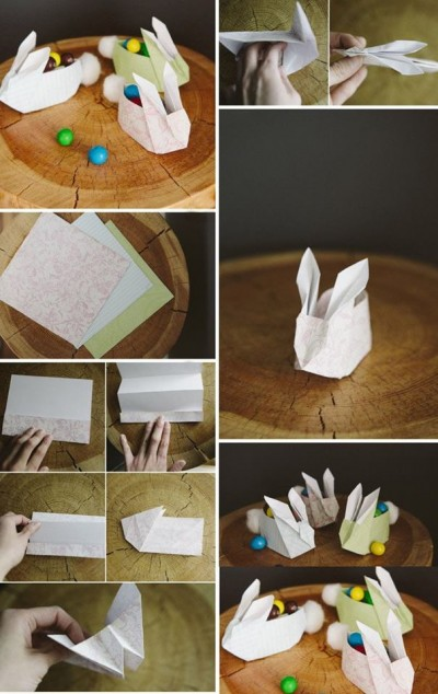 How to fold paper craft origami bunny step by step DIY tutorial instructions