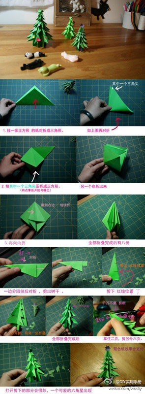 How to fold paper craft origami christmas tree step by step DIY tutorial instructions