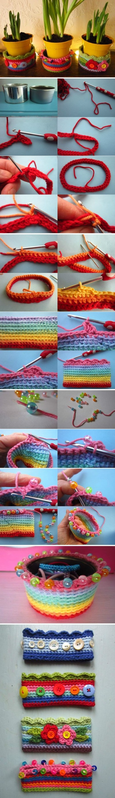 How to knit lovely basket step by step DIY tutorial picture instructions