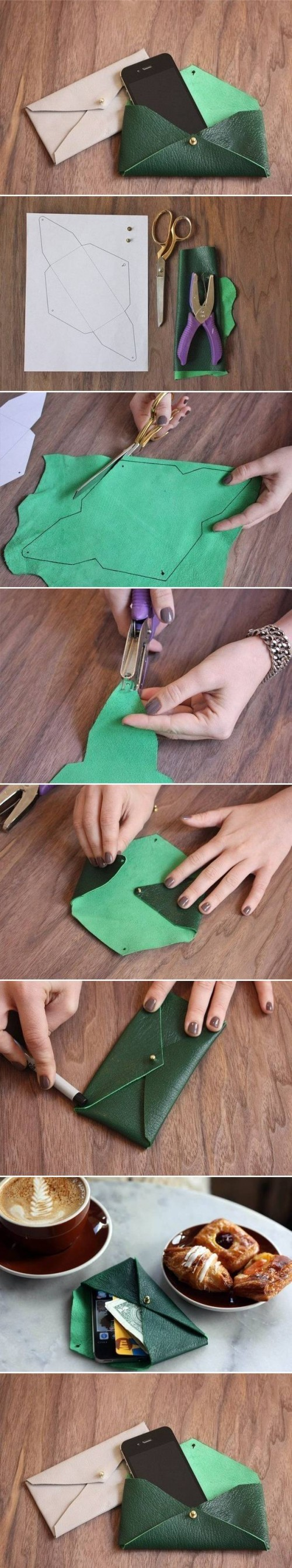 How to make Leather Envelope Case step by step DIY tutorial instructions