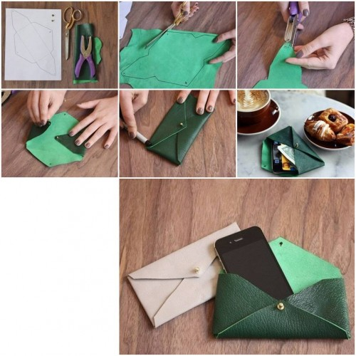 How to make Leather Envelope Case step by step DIY tutorial instructions thumb