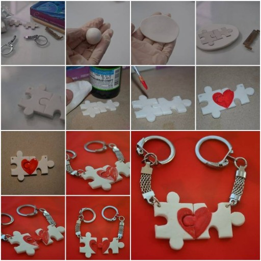 How to make Lover Puzzle Key Chain step by step DIY tutorial instructions thumb