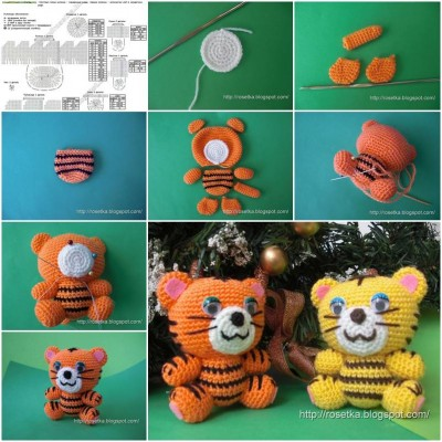 How to make Mini Crochet Tiger step by step DIY instructions thumb