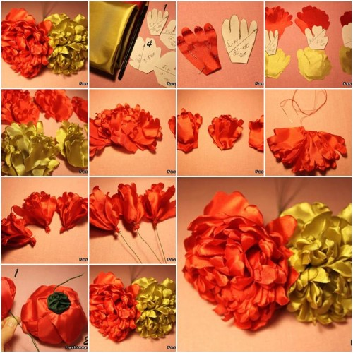 How to make Modular Fabric Peony Flower step by step DIY tutorial instructions thumb