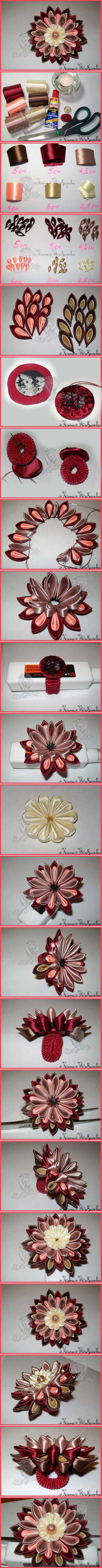 How to make Multi-Layer Ribbon Flower step by step DIY tutorial instructions