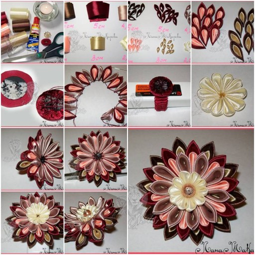 How to make Multi-Layer Ribbon Flower step by step DIY tutorial instructions thumb