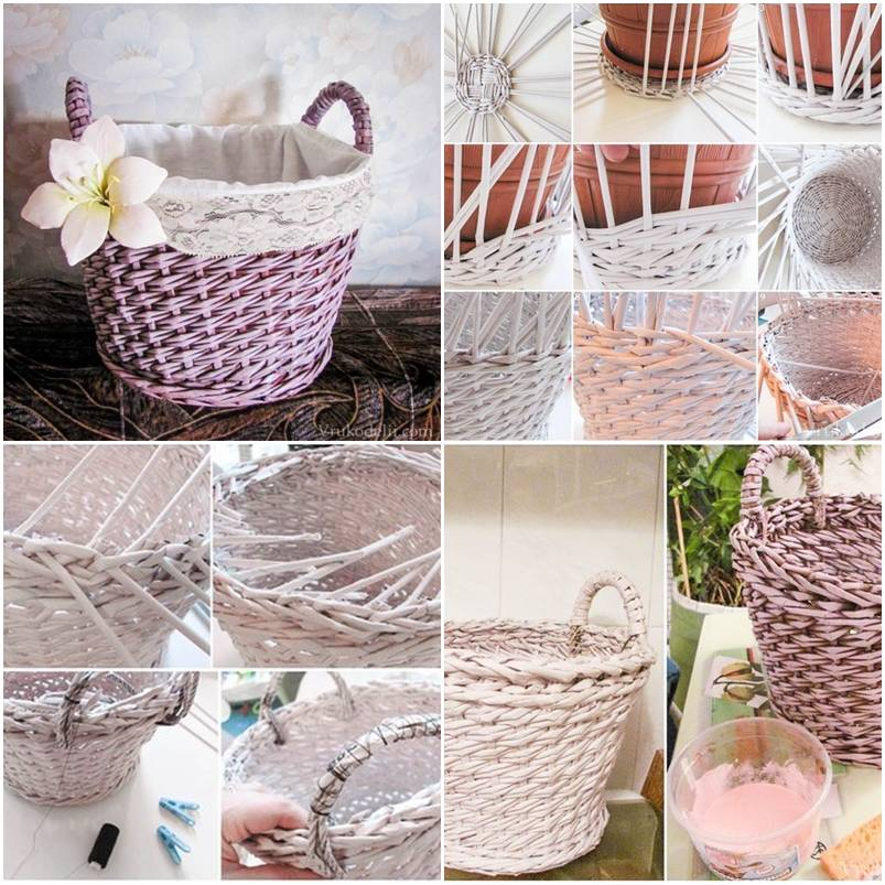 Handmade Paper Baskets Step By Step : How to make newspaper basket layer weave step by diy