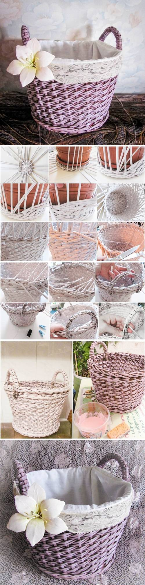 How to make Newspaper Basket Layer Weave step by step DIY tutorial instructions