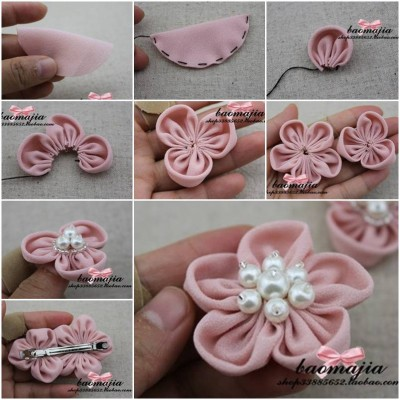 How to make Nice Fabric Flower Hair Clip step by step DIY instructions thumb