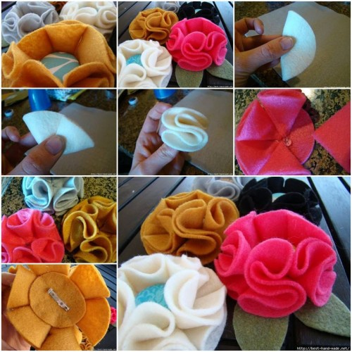 How to make Nice Modular Felt Flower step by step DIY tutorial instructions thumb