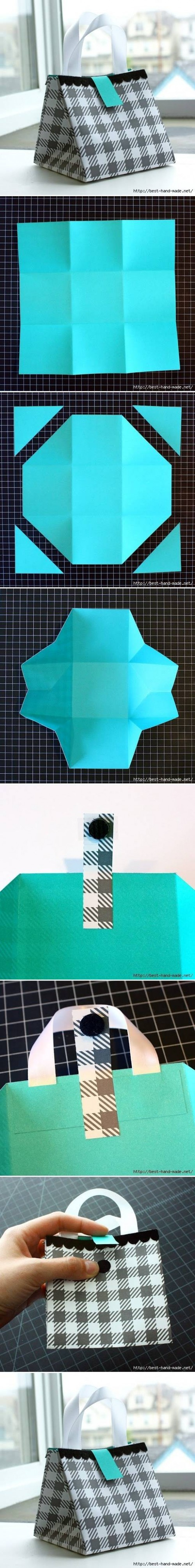 How to make Nice Paper Gift Bag step by step DIY tutorial instructions