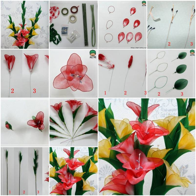 How to make nylon galdiolus flower step by step diy for Handmade flowers for decoration step by step