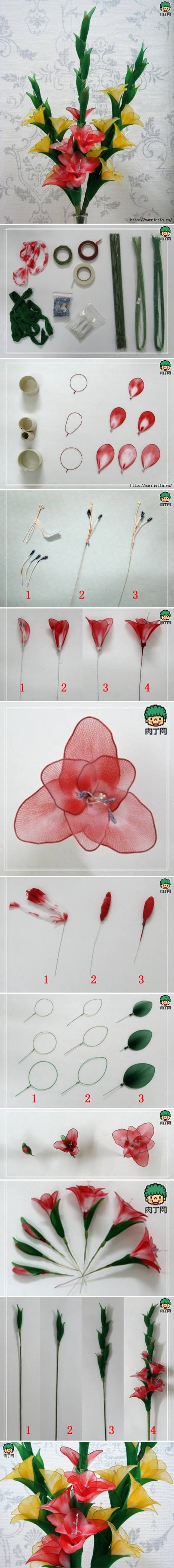 How to make Nylon Galdiolus Flower step by step DIY tutorial instructions