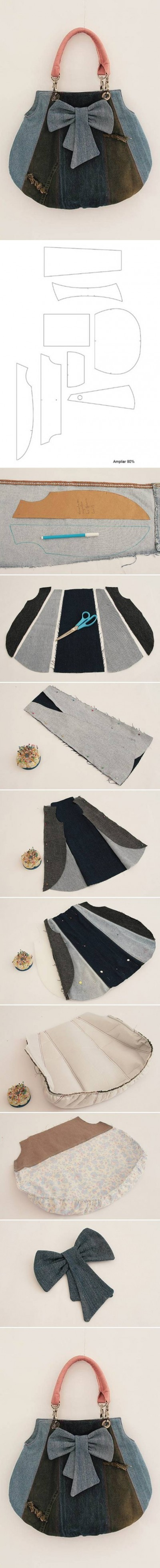 How to make Old Jeans Fashion Bag step by step DIY tutorial instructions