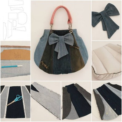 How to make Old Jeans Fashion Bag step by step DIY tutorial instructions thumb