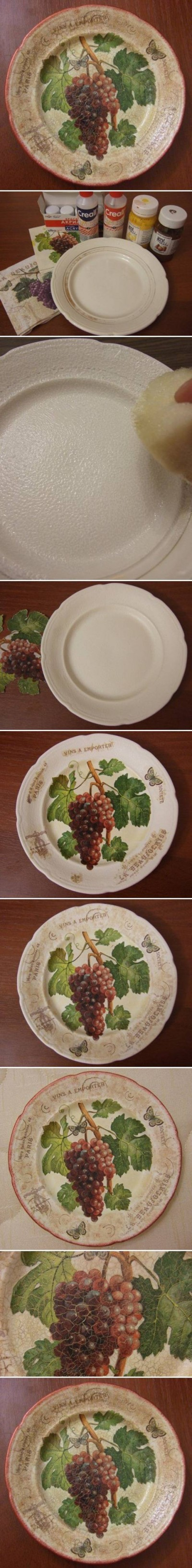How to make Old Plate Decoupage step by step DIY tutorial instructions