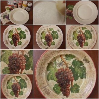 How to make Old Plate Decoupage step by step DIY tutorial instructions thumb