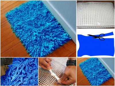 How to make Old Shirt Floor Mat step by step DIY tutorial instructions thumb
