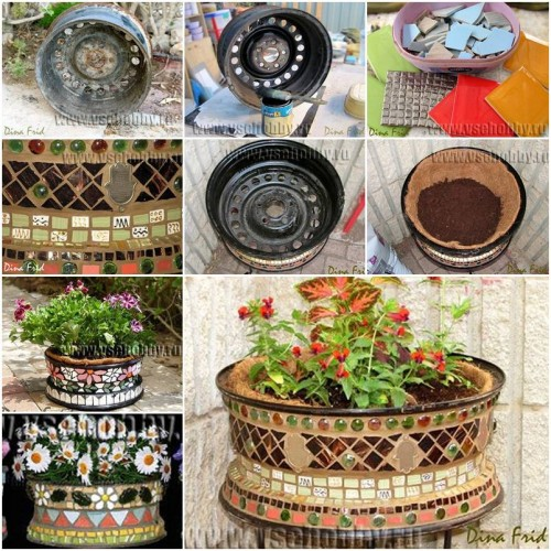 How to make old wheel mosaic flower pot step by step diy for How to make beautiful flower pots at home