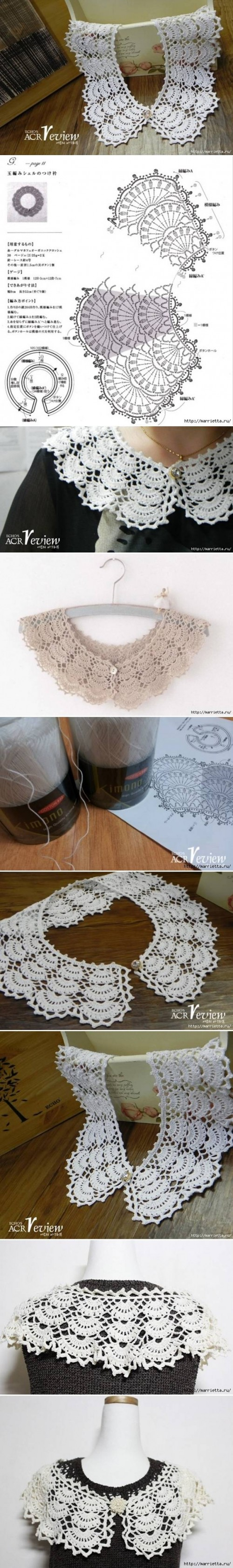 How to make Open Work Crochet Collar step by step DIY tutorial instructions