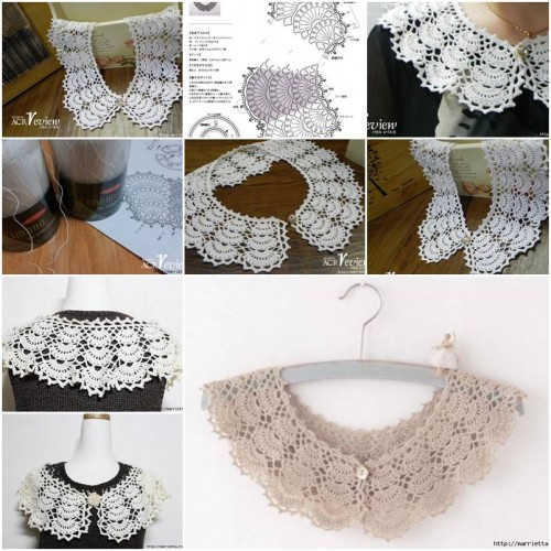 Instructions On How To Crochet : ... Open Work Crochet Collar step by step DIY tutorial instructions thumb