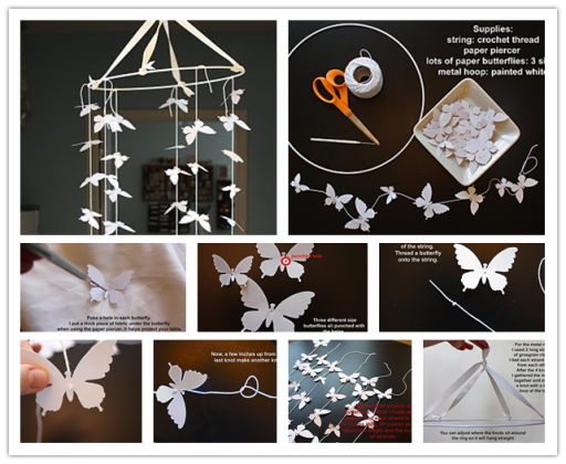 How to make Paper Butterfly Mobile step by step DIY tutorial instructions
