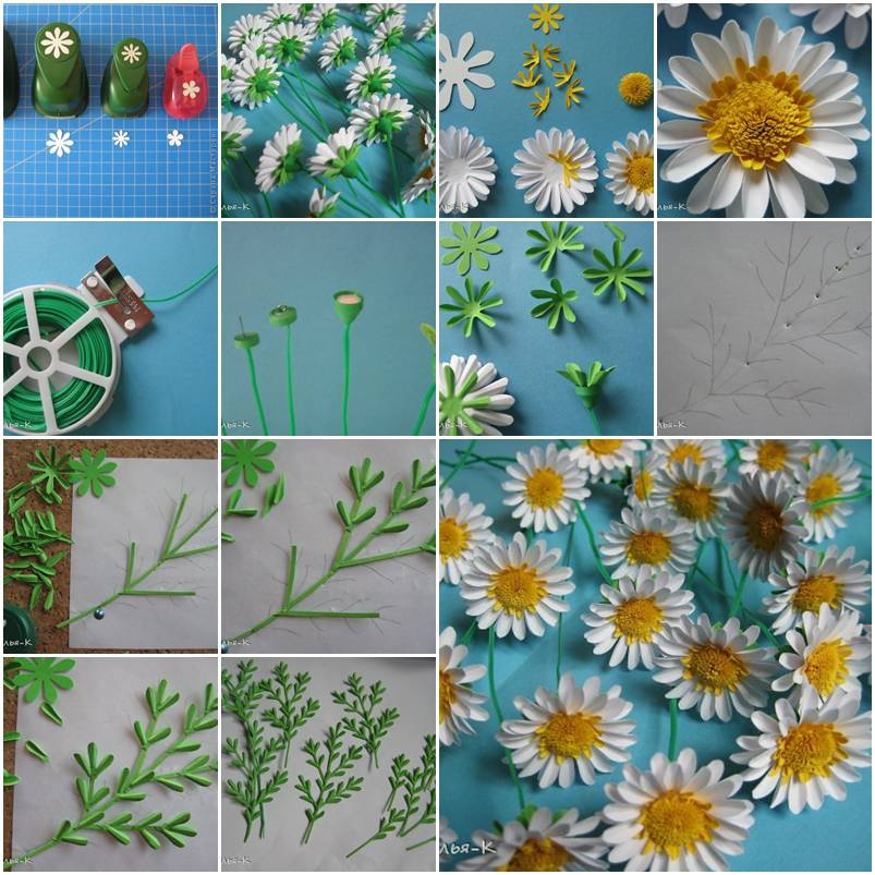 How to make paper daisies step by step diy tutorial for Paper craft step by step