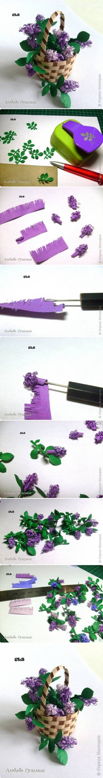 How to make Paper Lilac Flower step by step DIY tutorial instructions