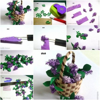 How to make Paper Lilac Flower step by step DIY tutorial instructions thumb