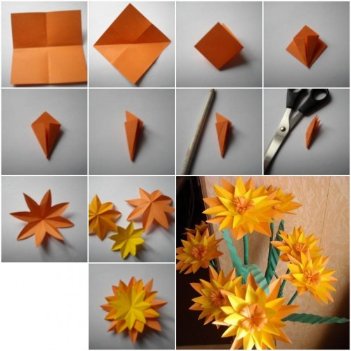 How to make Paper Marigold Flower step by step DIY tutorial instructions thumb