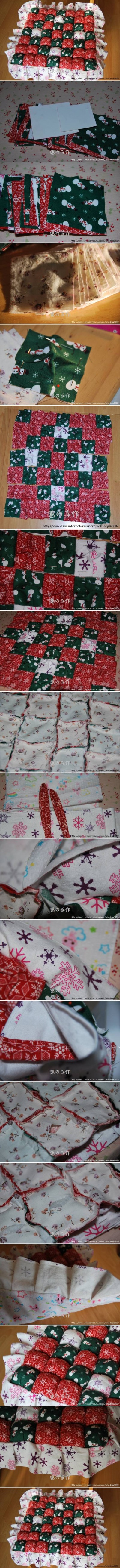 How to make Patchwork Pillow step by step DIY instructions