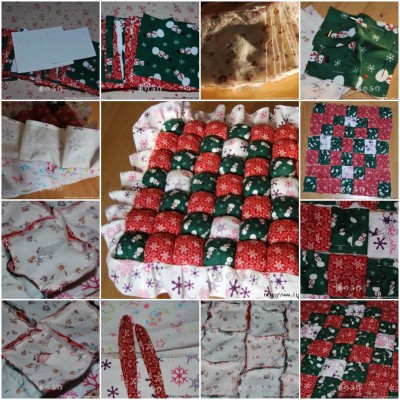 How to make Patchwork Pillow step by step DIY instructions thumb
