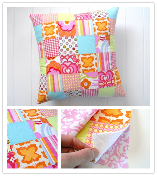 How to make Patchwork Pillow step by step DIY tutorial instructions