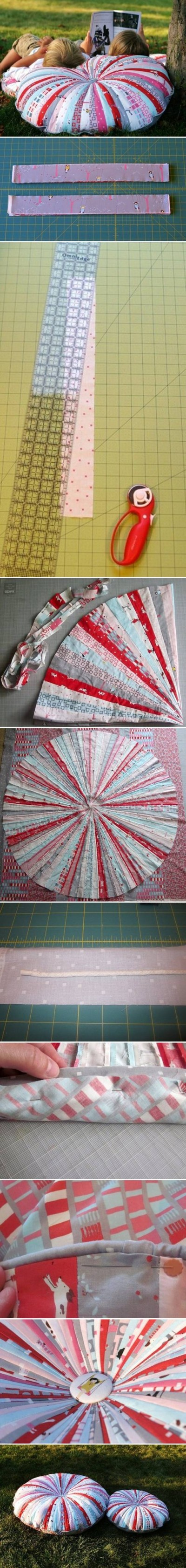How to make Patchwork Round Pillow step by step DIY tutorial instructions