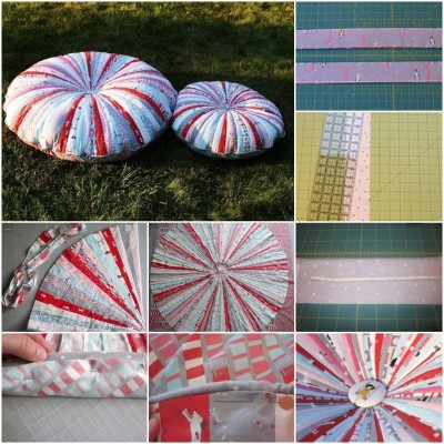 How to make Patchwork Round Pillow step by step DIY tutorial instructions thumb