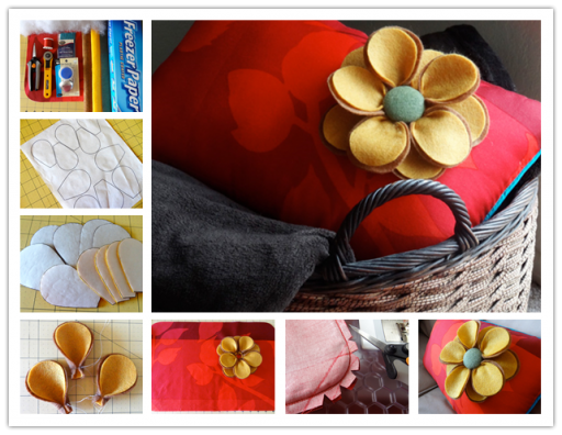 How to make pillow with felt flower step by step diy for Flower making ideas step by step