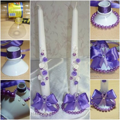How to make Plastic Bottle Candlestick with Bow step by step DIY tutorial instructions thumb