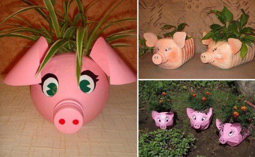 How to make Plastic Bottle Piggy Plant Vase step by step DIY tutorial instructions