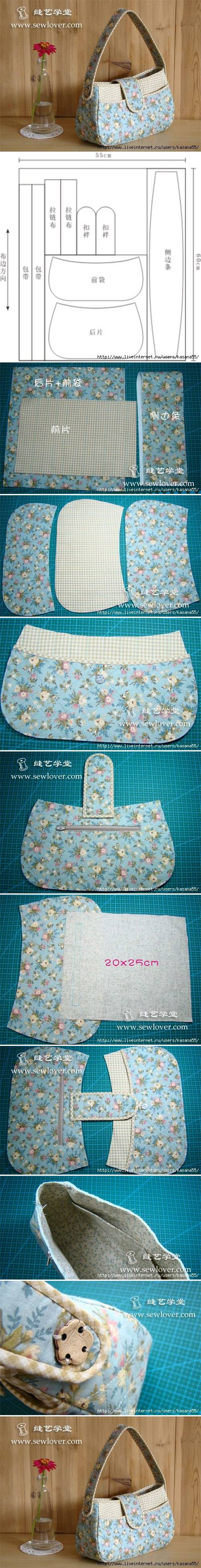 How to make Pretty Fashion Purse step by step DIY tutorial instructions