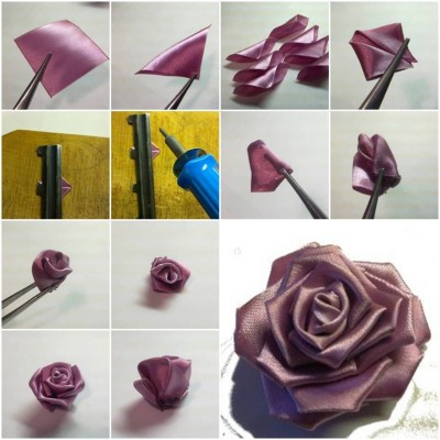 How to make Purple Ribbon Rose step by step DIY tutorial instructions thumb