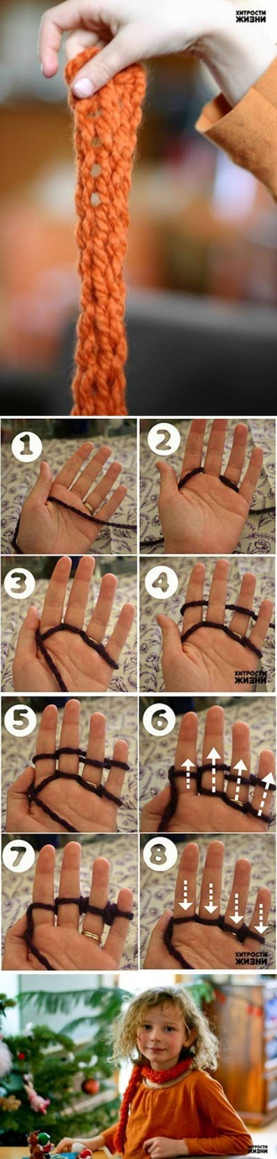How to make Quick Finger Knitting step by step DIY tutorial instructions