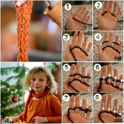 How to make Quick Finger Knitting step by step DIY tutorial instructions thumb