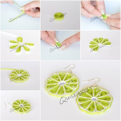 How to make Quilled Green Lemon Earrings step by step DIY tutorial instructions thumb