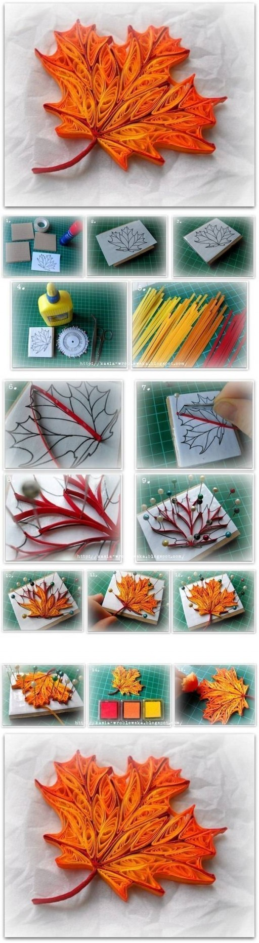 How to make Quilled Maple Leaf step by step DIY tutorial instructions 512x1864 How to make Quilled Maple Leaf step by step DIY tutorial instructions
