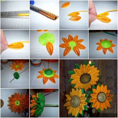 how to make quilling sunflower step by step diy tutorial